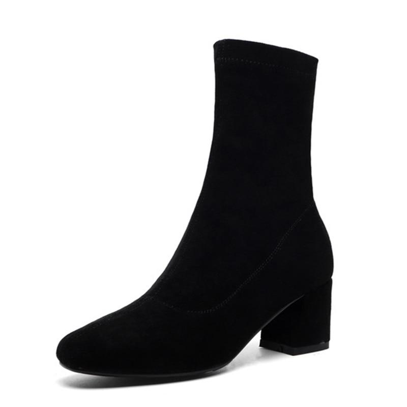 Women Comfy Low Heels Black Sock Boots