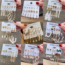 Hot Sale Gold Geometric Pearl Drop Earrings for Women 2021 New Trendy Circle Earrings Jewelry Female Fashion Statement cheap Zinc Alloy CN(Origin) Simulated-pearl Gold Color Round Lover Women Girls Friends Mother Daughter Show in the pictures Pearl Earrings Set