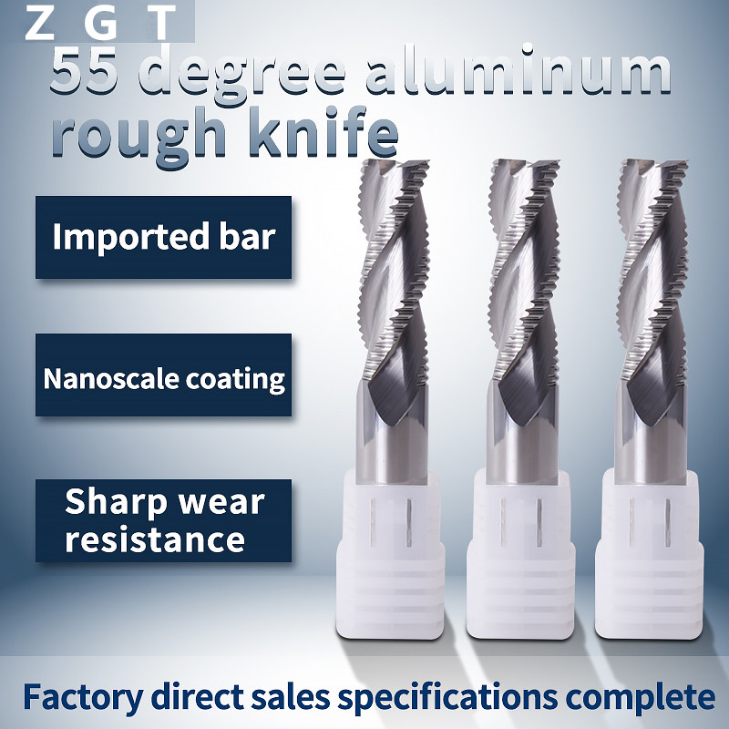 ZGT Roughing End Mill Aluminum Cutter HRC55 3 Flutes Tungsten Steel Milling For Copper Endmill