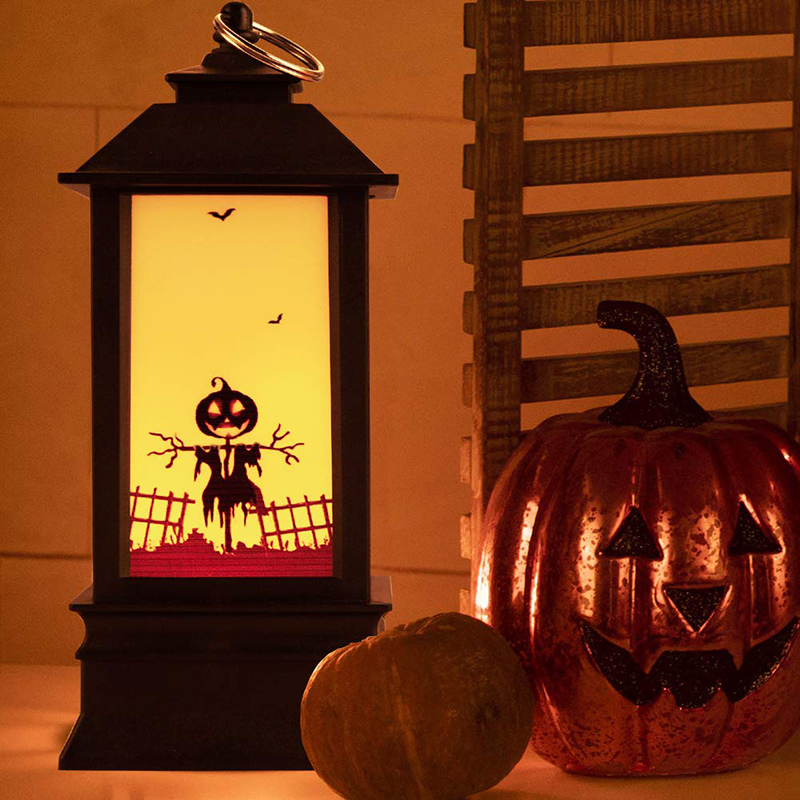 2019 Halloween Vintage Pumpkin LED Night Light  Party Hanging Decor Lantern Simulated Flame Light Party Home Decoration