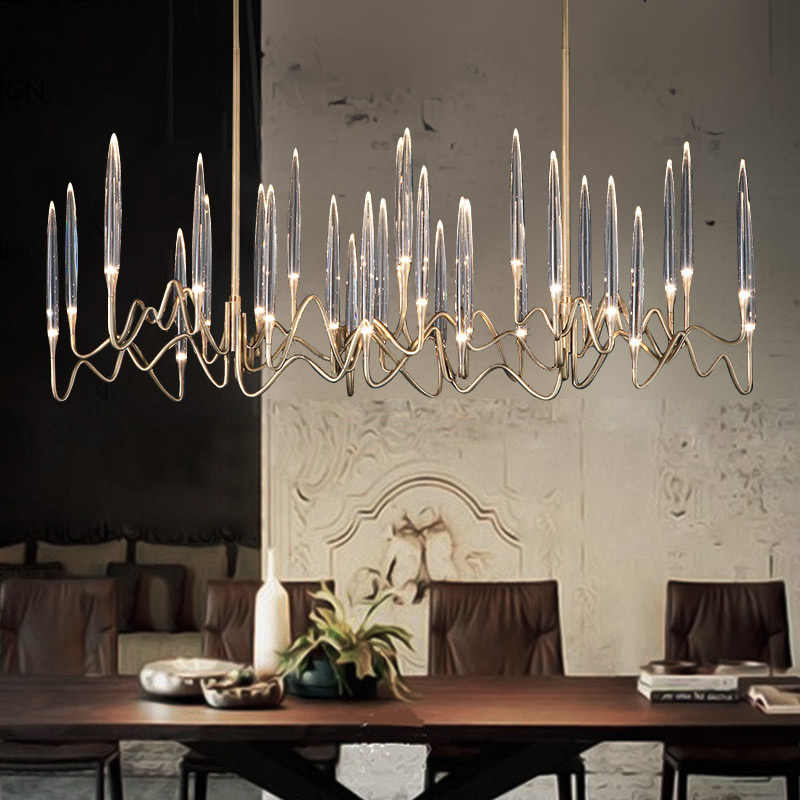 Light luxury crystal restaurant chandelier post modern minimalist dining  room lamp fashion bar table lamp design model room|Pendant Lights| -  AliExpress