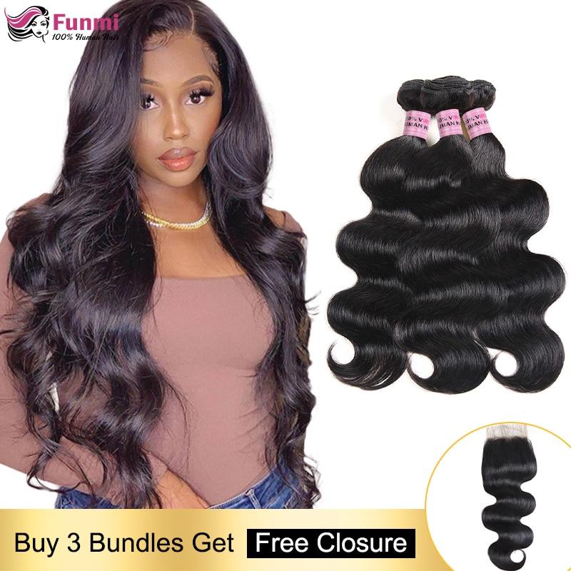 Free Closure Body Wave Human Hair Bundles Brazilian Hair Weave Bundles Body Wave Hair Bundles With Closure Human Hair Non-Remy