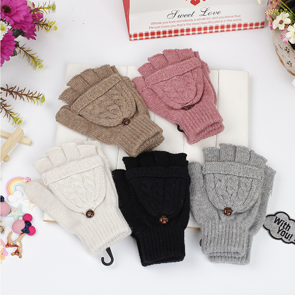 1 Pair Women Half Hand Flip Warmer Gloves Gift Soft Half Finger Mittens Knitted Thicken Artificial Wool Thermal Autumn Winter|Men