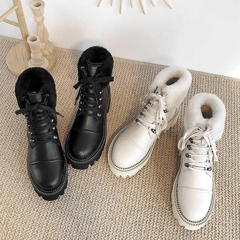 Donna-in 2019 Winter Hohe Plattform Schnee Stiefel Für Frauen Mit Warme Plüsch Natürlichen Leder Frauen Schuhe Niet Gothic botas Feminina