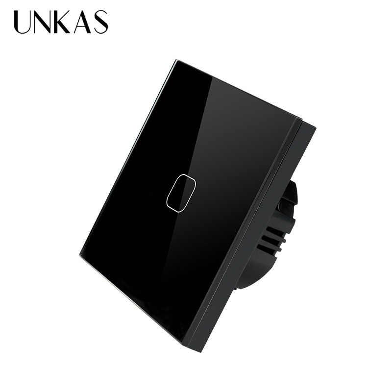 UNKAS ab standardı dokunmatik anahtarı 1 Gang 1 yollu siyah kristal cam anahtarı paneli tek FireWire dokunmatik algılama duvar anahtarı