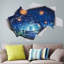 Happy Halloween Christmas Stickers 3D Wall Creative Jack-o -lantern Horror