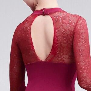Image 5 - Профессиональный балетный купальник для взрослых, сексуальное кружевное балетное платье для женщин, тренировочные костюмы для учителя, женская танцевальная одежда черного и красного цвета