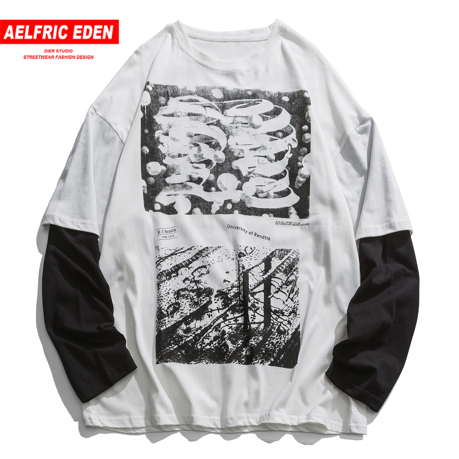 Aelfric Eden Hip Hop Patchwork Fish Forest Print Sweatshirts Mens Harajuku Casual Cotton Pullover Fashion Streetwear Long Sleeve