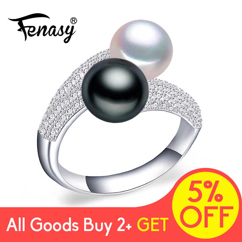 FENASY 925 Sterling Silver Double Pearl Rings For Women Love Luxury Cubic Zirconia Promise Adjustable Ring Black Pearl Jewelry