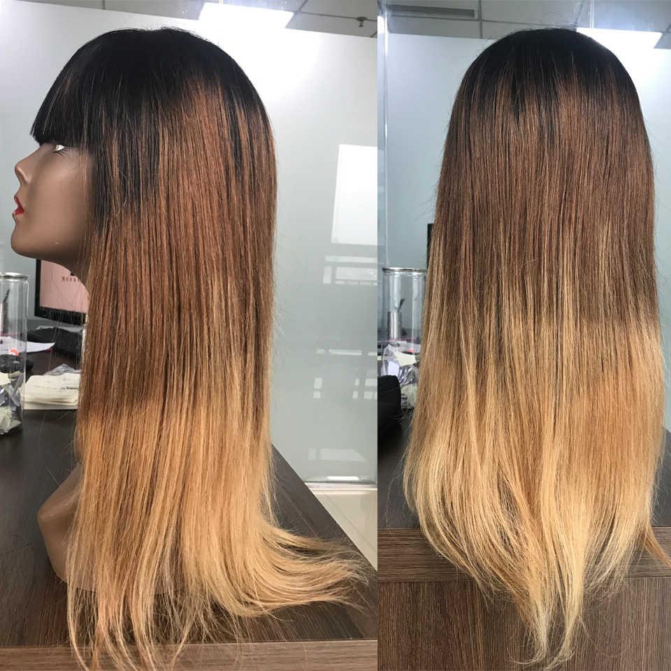 Groothandel Braziliaanse Straight Menselijk Haar Pruiken Met Pony T1b/4/27 Honing Blonde Pruik Ombre Menselijk Haar Pruiken Voor Zwarte vrouwen Non-Remy