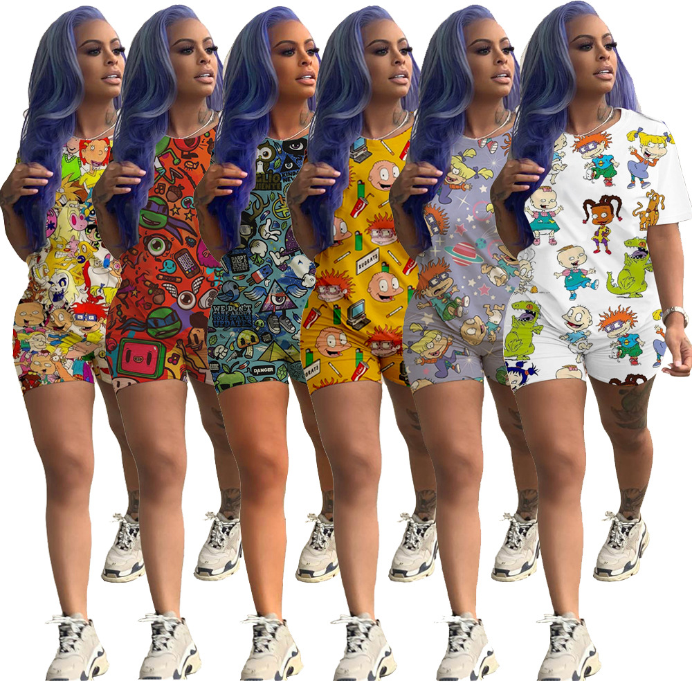 Women's Summer Fashion Casual Printed O Neck Short Sleeve Top And Shorts 2 Piece Sets
