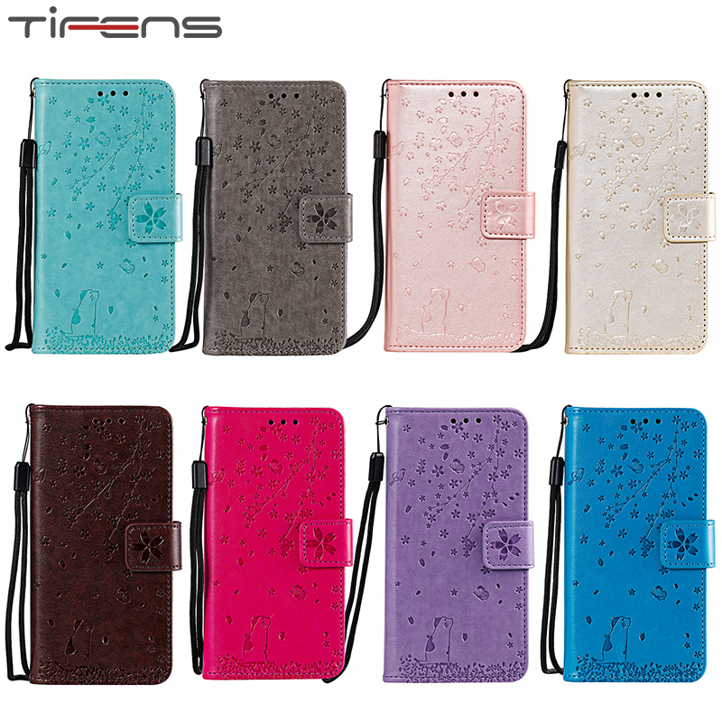 Luxury Cherry Cat Leather Cover Flip Wallet For Huawei Honor 9 10 Lite 20 Pro 8X 9X <font><b>Hawei</b></font> Y5 Y6 <font><b>Y7</b></font> 2018 P Smart <font><b>2019</b></font> Coque Case image