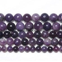 Perles rondes en lépidolite violette, pierre naturelle, fil de 15 pouces, taille au choix de 6, 8 et 10 MM, pour la fabrication de bijoux