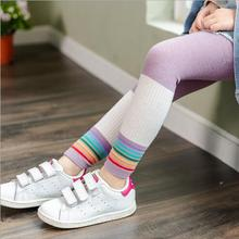 Girls Leggings Pants Rainbow Baby Children's New Spring Cropped Matching