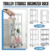 3 / 4 Tier Plastic Bathroom Slim Slide Out Trolley Storage Holder Shelf Rack Home Organizer With Wheel Ho Kitchen Accessories(China)