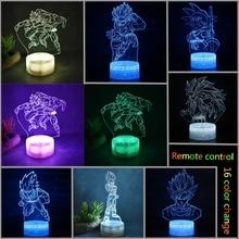 Dragon Ball Super Saiyan Son Goku Z Remote 3D Acrylic USB LED 16 Color Home Decor Night Light Table Lamp Birthday Gift
