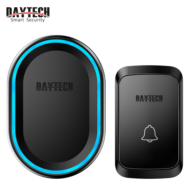 DAYTECH  Wireless Doorbell With 58Melodies 4 Volume Levels Flash LED Light Doorbell Waterproof For Home Office