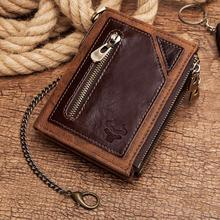 Genuine Leather Rfid Wallet Men Coin Purse Short Male Money Bag Chain  Male Wallet Pocket  Engrave
