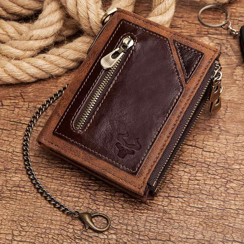 GZCZ 100% กระเป๋าสตางค์หนังแท้ RFID กระเป๋าสตางค์เหรียญผู้ชายกระเป๋าสตางค์เงินชายกระเป๋า Portomonee กระเป๋าสตางค์ชายกระเป๋าฟรีแกะสลัก