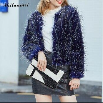 プラスサイズコートエレガントなフェイクファーのコートの女性クロップ豪華なオーバーコート O ネック冬のファッション暖かいソフト毛皮ジャケット作業ふわふわ生き抜く