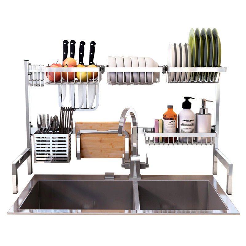 Kitchen Stainless Steel Organizer Kitchen Plate Dish Rack Cutlery Cup Drain Rack Kitchen Shelf Rack Drying Drain Storage Holders