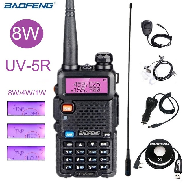 Мощная рация Baofeng UV 5R 8 Вт портативная любительская радиостанция двухдиапазонный УФ 5R Ham CB радиоприемопередатчик для охоты 10 км