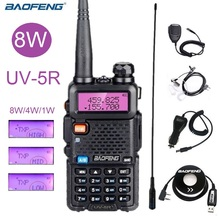 Güçlü Walkie Talkie Baofeng UV 5R 8W taşınabilir amatör radyo istasyonu çift bantlı UV 5R Ham CB radyo alıcı verici avcılık 10km