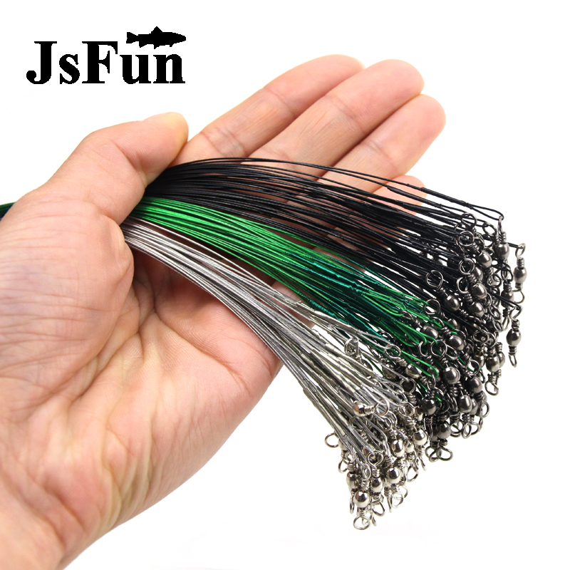 20pc/lot Steel Wire Leader with Swivel Anti-bite Fishing Line 10/15/20/30cm Fishing Accessory 3 Colors Olta Leadcore Leash FO386