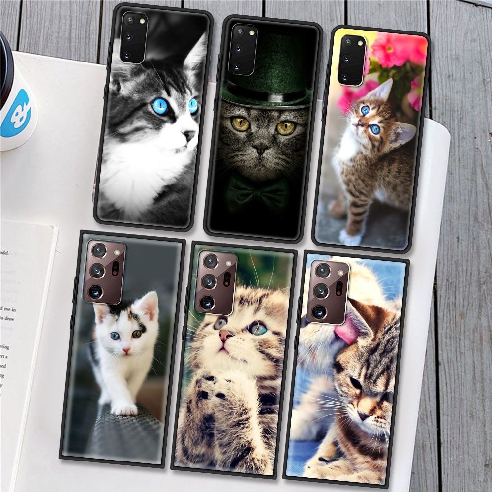 Case For Samsung Galaxy S20 FE S21 S10 S9 Plus S8 S10e Note 20 Ultra 10 Lite 9 Soft Phone Cover Sac Cat Cute Kitten