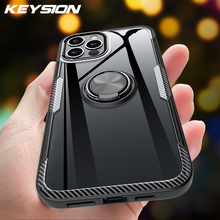 KEYSION Fashion Clear Shockproof Case For iPhone 12 Mini 12 Pro Max Transparent Ring Phone Back Cover for Apple iPhone 12 12 Pro