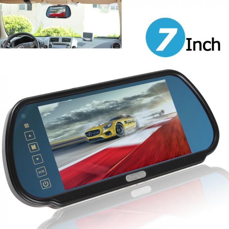 7 дюймов цветной TFT ЖК дисплей Широкоформатный Автомобильный зеркало заднего вида монитор 2 видео вход сенсорная кнопка Авто Парковка заднего вида монитор