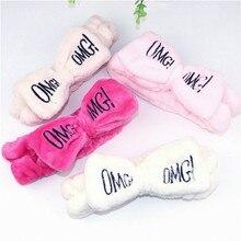 Мягкие флисовые повязки женские с бантом с надписью «OMG»