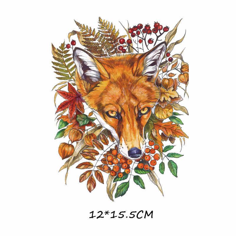 Serie de dibujos animados Transferencia de Calor Animal calor transferencia reflectiva leopardo Phoenix impresa con zorros camiseta pasta de tela decorativa