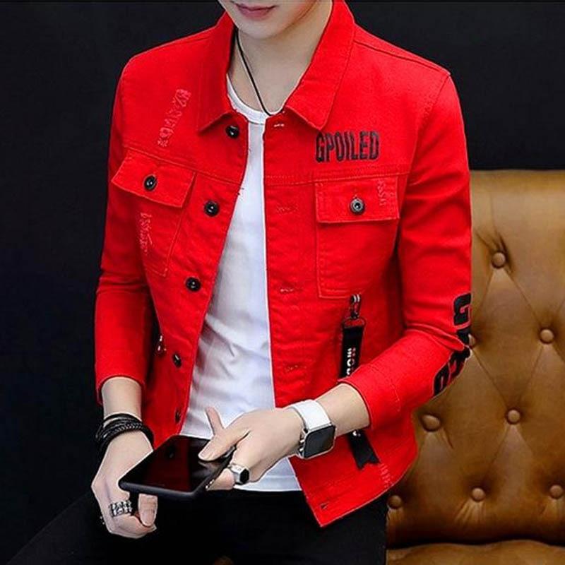 Hot 2020 Men's Denim Jacket Spring Autumn Letter Printed Grey/red/black/white Slim Cowboy Handsome Clothes Teenagers Denim Coat