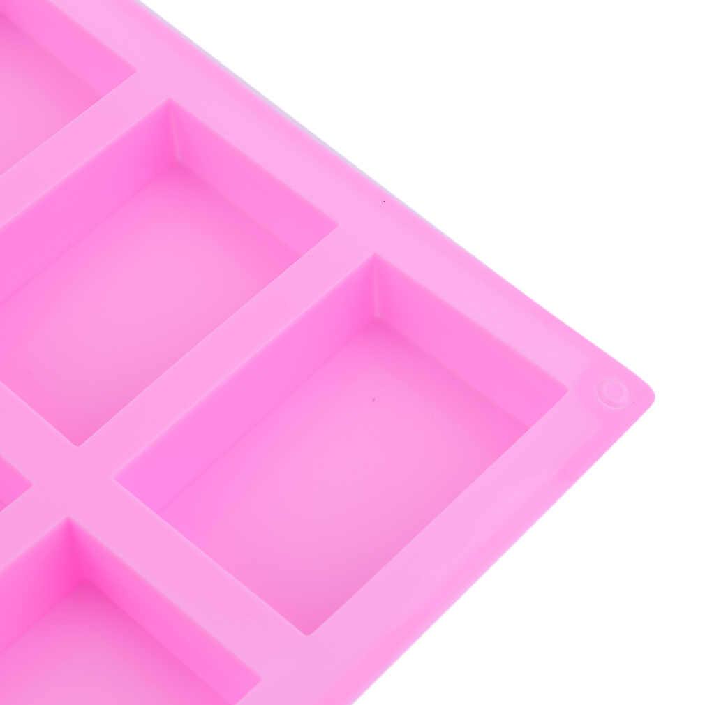 ¡OFERTA 2017! Práctico molde de silicona para jabón hecho a mano, moldes de repostería rectangulares de 6 agujeros, moldes de silicona para repostería, moldes para hornear, facilidad de manejo