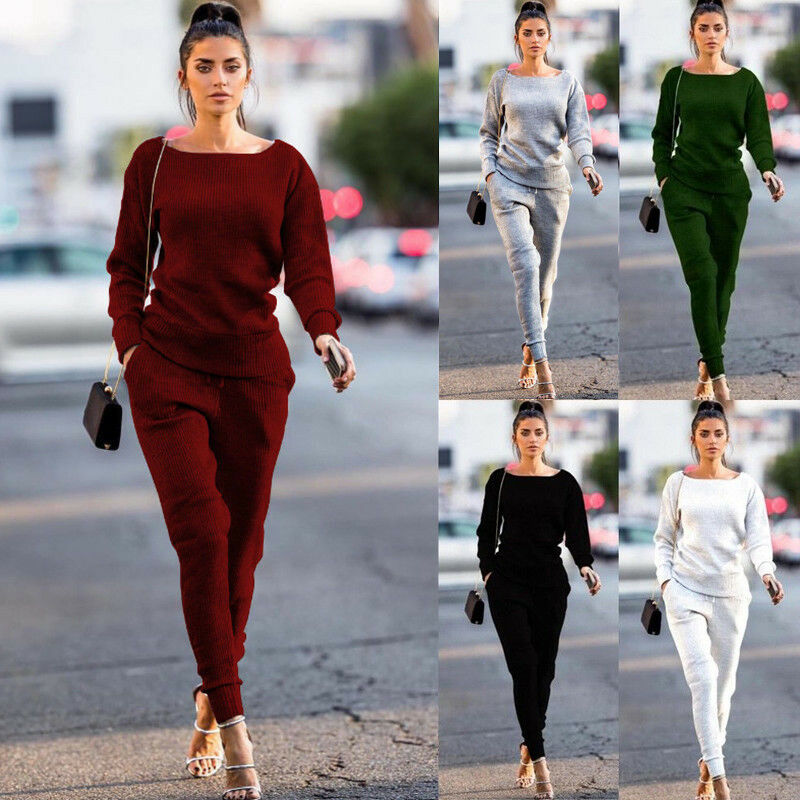 USA Women's 2Pcs Tracksuit Jogging Gym Sport Suit Hoodies Sweatshirt Pants Sets Sport Lounge Wear Casual Sweat Suit Breathable