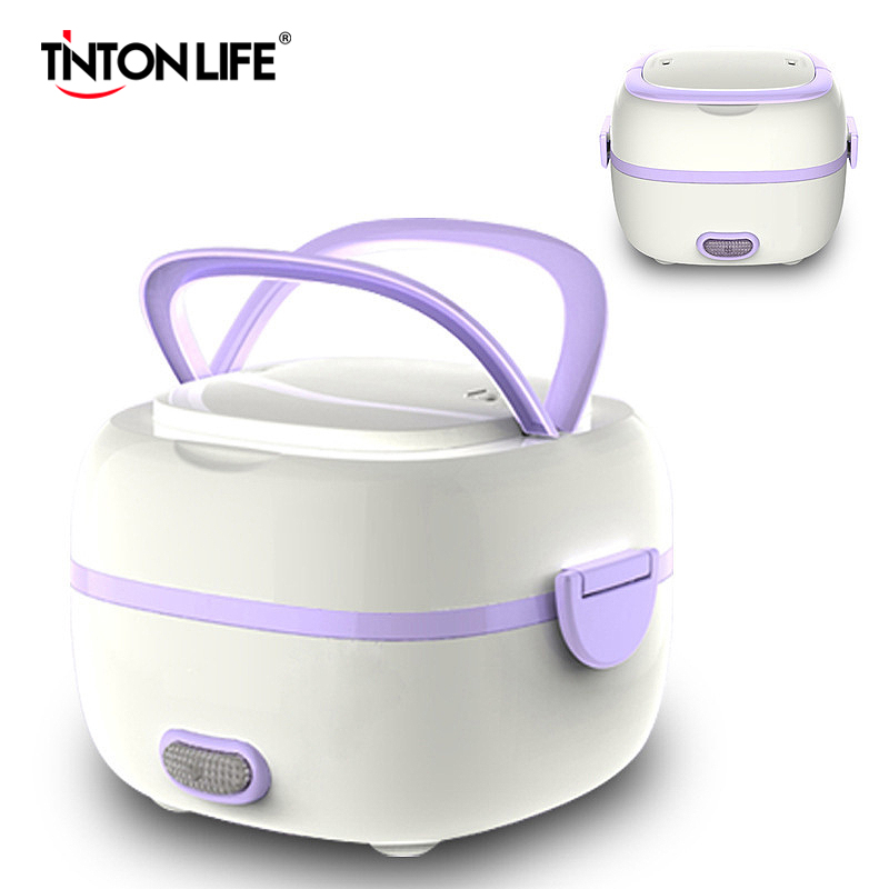 Mini Rice Cooker Thermal Heating Electric Lunch Box 2 Layers Portable Food Steamer Cooking Container Multifunctional Lunchbox