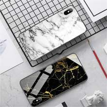 HOT Marble texture Phone Case PC+TPU Phone case for iphone 11 Tempered Glass cover iphone se2020 7 8 plus X XS XR MAX(China)