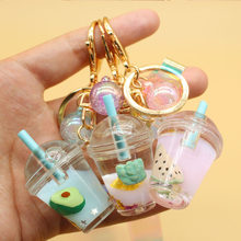 All kinds of fruit juice drinks a cup of key chain pendant girl bag car key pendant key chain
