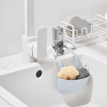 Sink Plastic Drain Basket Storage Hanging Kitchen Small Supplies Kitchenware Shelf Rack Bag