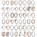 Подлинное 925 пробы Серебряное кольцо, блестящее популярное роскошное, подходит для оригинальных европейских женщин, вечерние, Подарок на го...