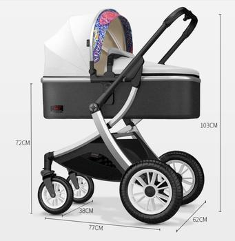 High view baby stroller can sit and lie down, two-way shock absorber, light folding newborn baby trolley baby stroller ultralight portable folding can sit and lie high landscape shock absorber children baby pocket car boarding