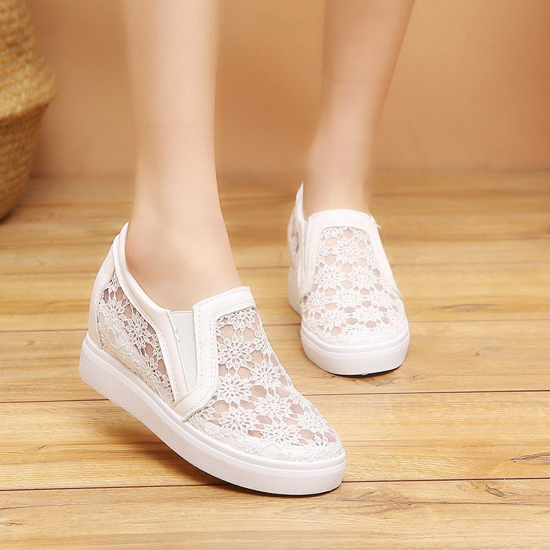 YeddaMavis Wedges Shoes White Lace Flowers Women Shoes Women Sneakers New Korean Womens Shoes Woman Trainers Zapatos De Mujer in Women 39 s Vulcanize Shoes from Shoes