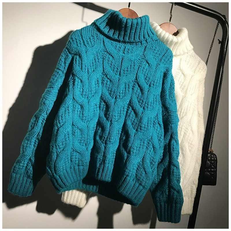 Musim Dingin Berleher Tinggi Tarik Femme untuk Sweater Pakaian Wanita 2019 Korea Elegan Tebal Hangat Rajutan Top Blue Pullover 8048LW558
