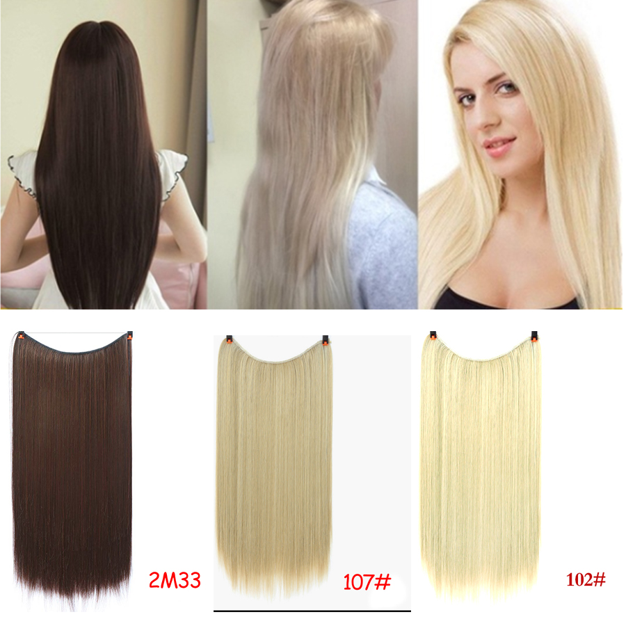 Allaosify No Clip In Halo Hair Extensions Invisible Wire Secret Fish Line Hairpieces Silky Straight Real Natural Synthetic Fake