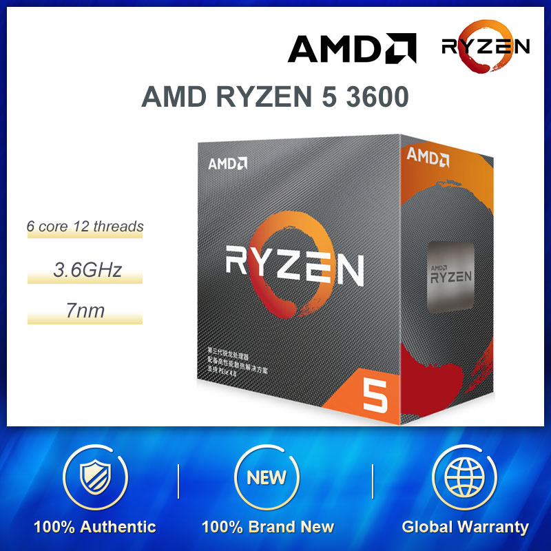 New AMD Ryzen 5 3600 R5 3600 3.6 GHz 6-Core 12-Thread CPU Processor 7NM 65W  Original Processor Socket AM4 Desktop  With Fan