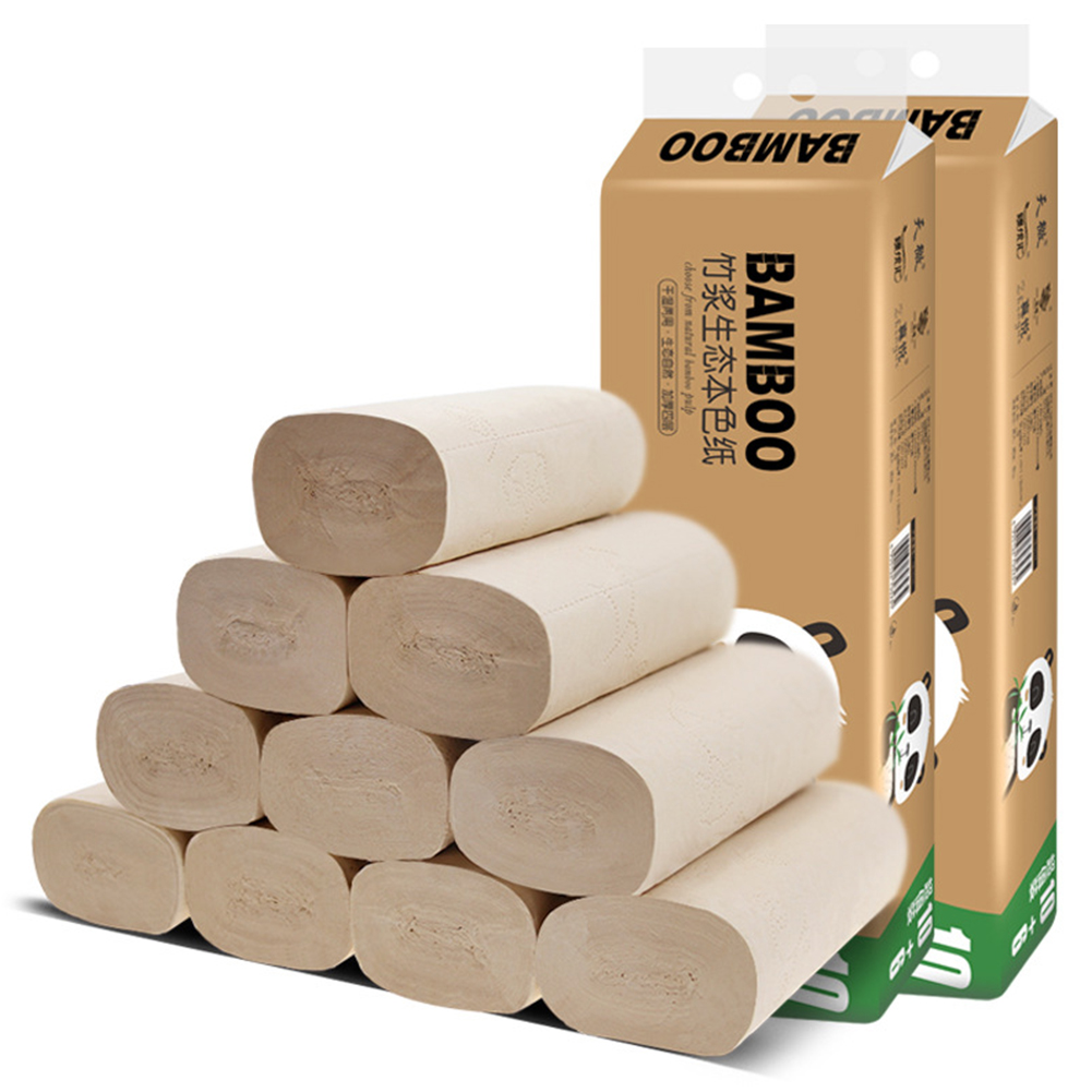 16 Rolls Toilet Paper 4 Layers Bamboo Pulp Easy Dissolution Bath Tissue Coreless #