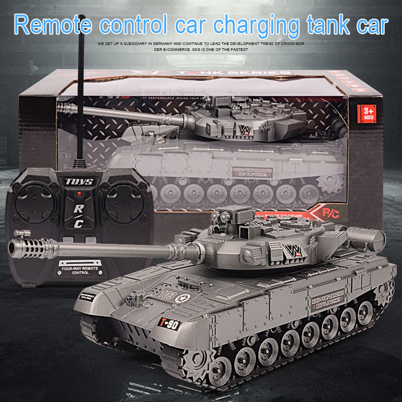 Xmas Remote Control Big Tank Charger Battle Launch Cross-country Tracked Light Musical Vehicle Boys Play Toy For Kids Children