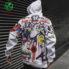 2019 Dropshipping Graffiti Hoodie Male Casual Hip Hop Fashion Streetwear Sweatshirt Male Female Oversized Top