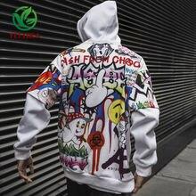 Sudadera con grafiti para hombre, ropa informal de Hip Hop, moda urbana, Top de gran tamaño, 2019